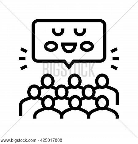 Group Activities And Events In Children Library Line Icon Vector. Group Activities And Events In Chi