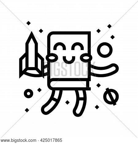 Fantasy Fiction Line Icon Vector. Fantasy Fiction Sign. Isolated Contour Symbol Black Illustration