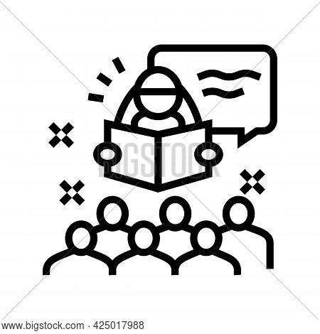 Story Time In Children Library Line Icon Vector. Story Time In Children Library Sign. Isolated Conto