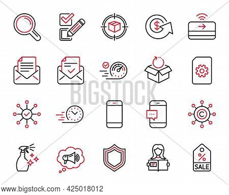 Vector Set Of Line Icons Related To Contactless Payment, Survey Check And Checkbox Icons. Mail Corre