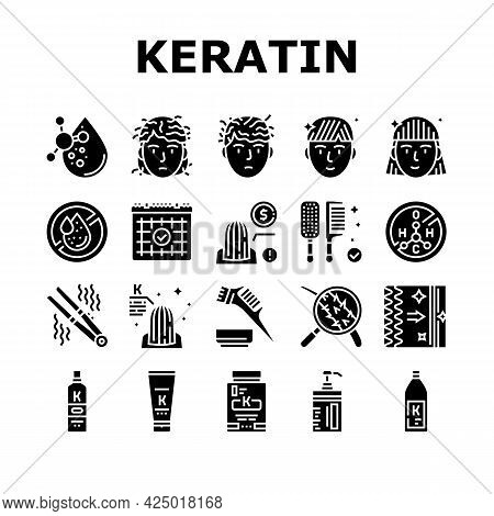 Keratin Hair Procedure Collection Icons Set Vector. Keratin Cosmetic And Cream, Shampoo And Oil, Com