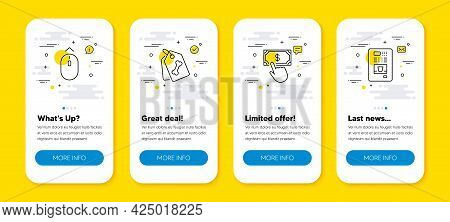Vector Set Of Payment Click, Pet Tags And Swipe Up Line Icons Set. Ui Phone App Screens With Line Ic