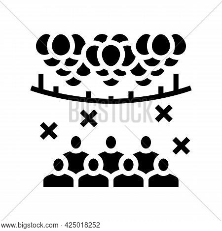 Surprise Party Decorated Balloon Glyph Icon Vector. Surprise Party Decorated Balloon Sign. Isolated