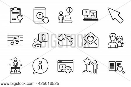 Business Icons Set. Included Icon As Success, Swipe Up, Search Text Signs. Love Letter, Musical Note