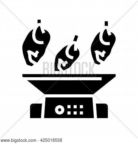 Mincing Machine Chicken Meat Factory Glyph Icon Vector. Mincing Machine Chicken Meat Factory Sign. I