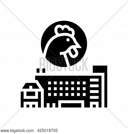 Poultry Farm And Factory Glyph Icon Vector. Poultry Farm And Factory Sign. Isolated Contour Symbol B