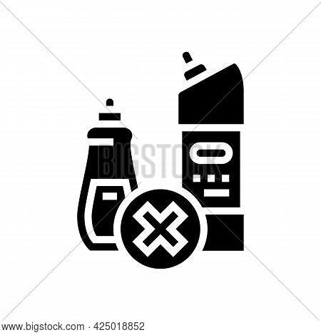 Chemical Liquid Prohibition Children Glyph Icon Vector. Chemical Liquid Prohibition Children Sign. I