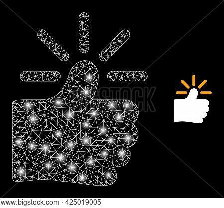 Magic Mesh Vector Shining Thumb With Glare Effect. White Mesh, Glare Spots On A Black Background Wit