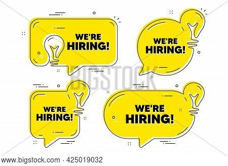 We Are Hiring Text. Idea Yellow Chat Bubbles. Recruitment Agency Sign. Hire Employees Symbol. Hiring