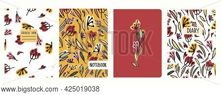 Cover Page Vector Templates With Hand Drawn Flowers, Inflorescences. Headers Isolated And Replaceabl