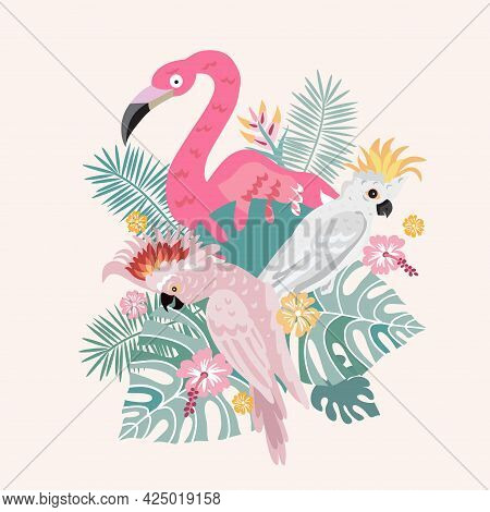 Beautiful Exotic Tropical Parrot Bird, Flamingo  With  Tropical Flowers, Colorful Exotic Leaves, Pla