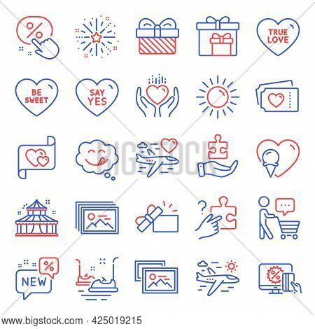 Holidays Icons Set. Included Icon As Buyer Think, Search Puzzle, Love Tickets Signs. Image Gallery,