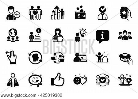 Vector Set Of People Icons Related To Group People, Vacancy And Face Id Icons. Yummy Smile, Woman Re