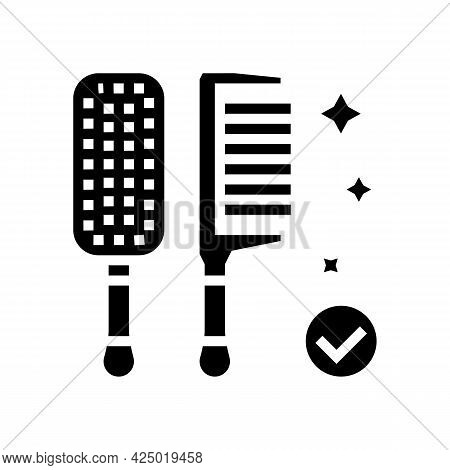 Comb Hairdresser Tool Glyph Icon Vector. Comb Hairdresser Tool Sign. Isolated Contour Symbol Black I