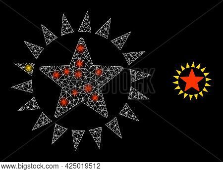 Magic Mesh Vector Star Shine With Glow Effect. White Mesh, Bright Spots On A Black Background With S