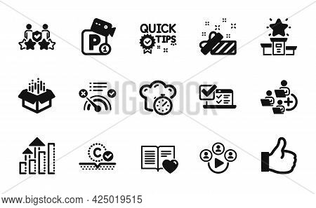 Vector Set Of Quick Tips, Present And Parking Security Icons Simple Set. Love Book, Analysis Graph A