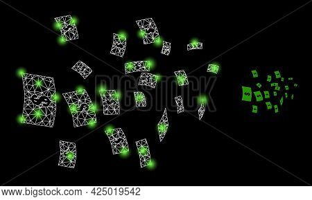 Glamour Mesh Vector Flying Dollar Banknotes With Glare Effect. White Mesh, Light Spots On A Black Ba