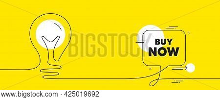 Buy Now Text. Continuous Line Idea Chat Bubble Banner. Special Offer Price Sign. Advertising Discoun