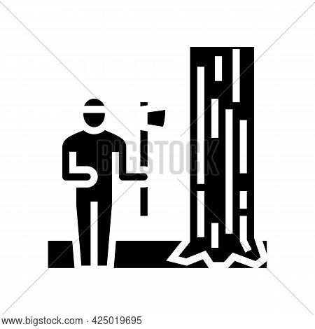 Lumberjack Chopping Wood Glyph Icon Vector. Lumberjack Chopping Wood Sign. Isolated Contour Symbol B