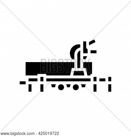 Saw Trailer Glyph Icon Vector. Saw Trailer Sign. Isolated Contour Symbol Black Illustration