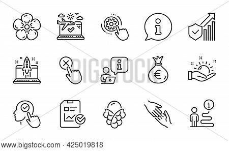 Business Icons Set. Included Icon As Natural Linen, Ice Cream, Money Bag Signs. Start Business, Sunn
