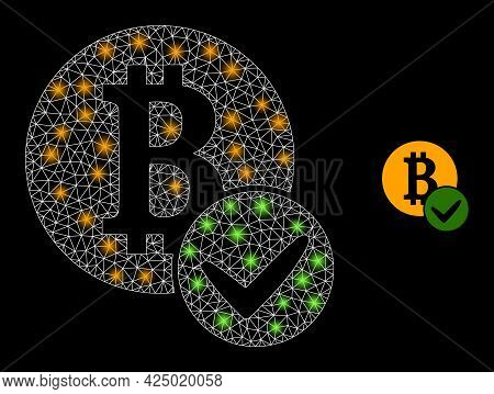 Glossy Mesh Vector Valid Bitcoin With Glow Effect. White Mesh, Glare Spots On A Black Background Wit