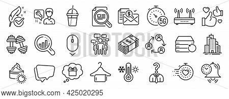 Set Of Business Icons, Such As Sun Cream, Seo Analysis, Voting Campaign Icons. Thermometer, Gift Dre