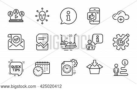 Technology Icons Set. Included Icon As Mobile Like, Confirmed Mail, Face Biometrics Signs. Calendar