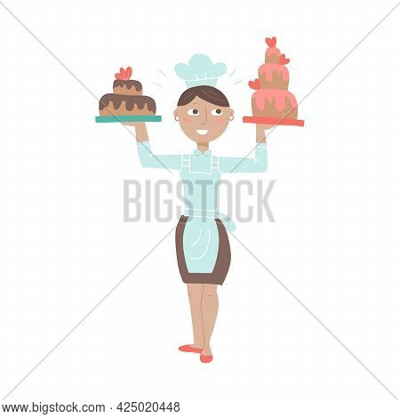 Woman Chif Holding Festive Tiered Cakes Flat Color Vector Illustration. Female Baker In Chef Hat. Gi