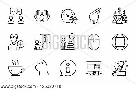 Business Icons Set. Included Icon As Creative Idea, Coffee, Globe Signs. Safe Water, Salary Employee