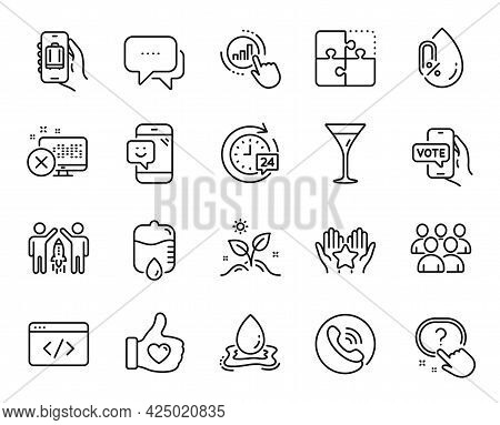 Vector Set Of Partnership, Martini Glass And Smile Line Icons Set. Grow Plant, Graph Chart And Rejec