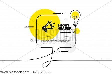 Megaphone Icon. Continuous Line Idea Chat Bubble Banner. Advertisement Device Symbol. Brand Ambassad