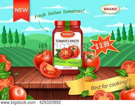 Realistic Detailed 3d Natural Tomatoes Paste With Red Tomato And Rural Landscape Scene Concept Backg
