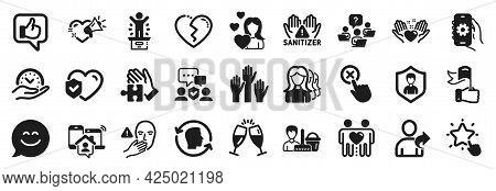 Set Of People Icons, Such As Leadership, Life Insurance, Voting Hands Icons. Winner Podium, Face Id,