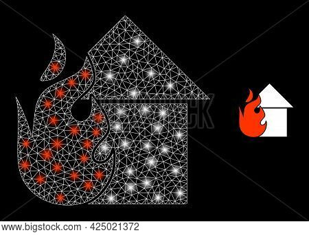 Bright Mesh Vector Fired House With Glare Effect. White Mesh, Light Spots On A Black Background With