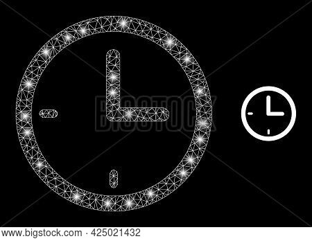 Bright Mesh Vector Clock With Glare Effect. White Mesh, Flash Spots On A Black Background With Clock