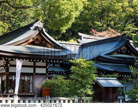 Kofu, Yamanashi Prefecture, Japan - October 26, 2017: On The Grounds Of Takeda Shrine, A Shinto Shri