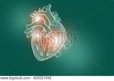 Handrawn Illustration Of Human Heart On Deep Green Background. Medical, Science Set With Main Human