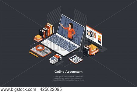 Vector Illustration On Online Money Accountant Service Concept. Isometric Composition, Cartoon 3d St