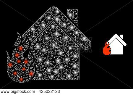 Glossy Mesh Vector Burning Home With Glare Effect. White Mesh, Glare Spots On A Black Background Wit