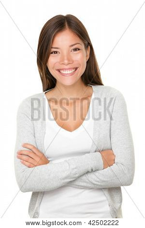 Beautiful smiling woman. Upper body portrait of a beautiful vivacious young woman of mixed Asian Caucasian descent with a beaming smile isolated on white