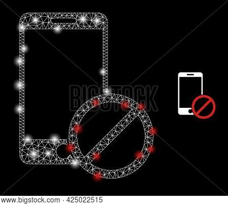 Magic Mesh Vector Deny Smartphone With Glow Effect. White Mesh, Bright Spots On A Black Background W