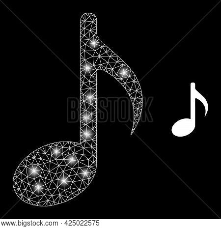 Bright Mesh Vector Music Note With Glare Effect. White Mesh, Glare Spots On A Black Background With