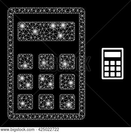 Glossy Mesh Vector Calculator With Glow Effect. White Mesh, Glare Spots On A Black Background With C
