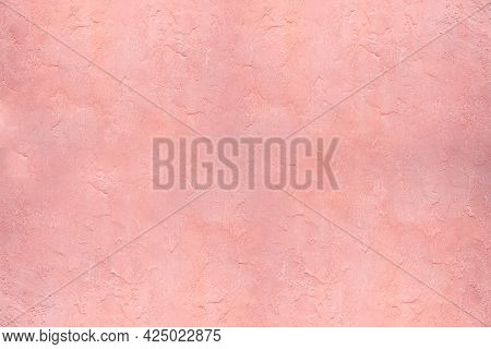 Pink Stucco Wall Plaster Texture - A Close-up Of A Plastered Wall