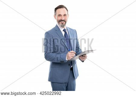 Cheerful Businessman Hold Folder. Business Expertise. Successful Man Making Notes.