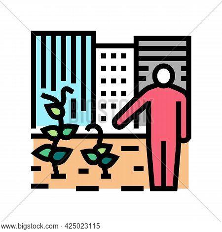Urban Gardening Human Business Color Icon Vector. Urban Gardening Human Business Sign. Isolated Symb
