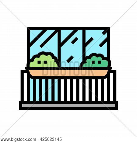 Plant On Balcony Color Icon Vector. Plant On Balcony Sign. Isolated Symbol Illustration