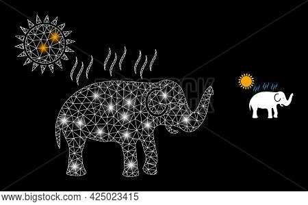Bright Mesh Vector Elephant Under Sun Heat With Glow Effect. White Mesh, Bright Spots On A Black Bac