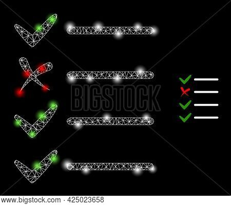 Glamour Mesh Vector Check List With Glare Effect. White Mesh, Flash Spots On A Black Background With